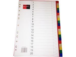 Διαχωριστικά πλαστικά χρωματιστά BlackRed A4 (1-20) (Διάφορα χρώματα)