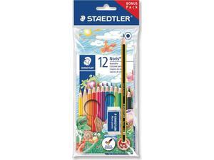Ξυλομπογιές STAEDTLER Noris με δώρο μολύβι και γόμα (πακέτο 12 τεμαχίων)