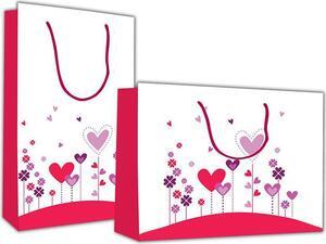 """Χάρτινη σακούλα δώρου 26x36x12cm """"λουλούδια καρδιές"""""""