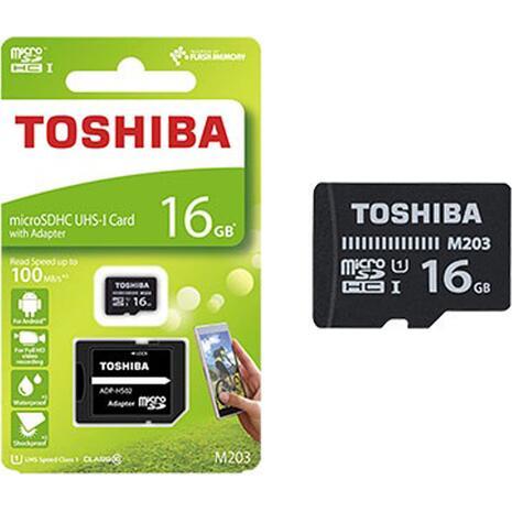 Κάρτα Μνήμης TOSHIBA MicroSDHC 16GB με αντάπτορα