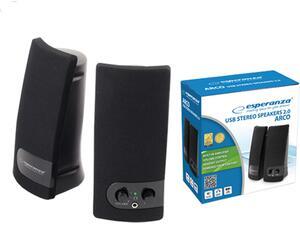 Ηχεία Esperanza Ενσύρματα USB 3W Black (συσκευασία 2 τεμαχίων)