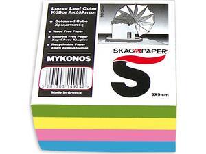 """Κύβος σημειώσεων Skag """"Μύκονος"""" 9x9cm ακόλλητος χρωματιστός"""