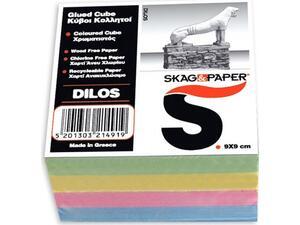 """Κύβος σημειώσεων Skag """"Δήλος"""" 9x9cm κολλητός χρωματιστός"""