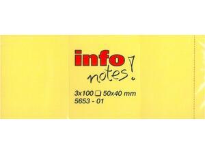 Αυτοκόλλητα χαρτάκια σημειώσεων Info Notes! 50x40mm Κίτρινα