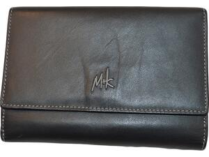 Δερμάτινo πορτοφόλι γυναικείo M+K μαύρο