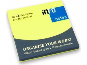 Αυτοκόλλητα χαρτάκια σημειώσεων INFO 75x75mm Κίτρινα No 5654-34