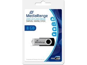 Mediarange flash drive 8GB USB 2.0 Μαύρο / Ασημί