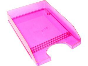 Χαρτοθήκη γραφείου πλαστικό διάφανο ρόζ