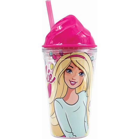 Παγουρίνο πλαστικό GIM Barbie Sweet Cream Up με καλαμάκι (571-13216)