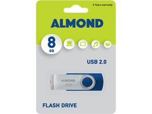 Usb 8GB Almond twister blue flash drive