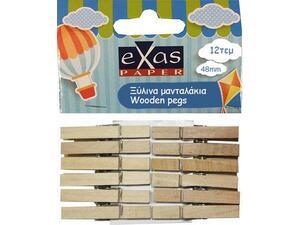 Mανταλάκια ξύλινα Exas Paper 48mm Φυσικό Χρώμα ( 12τεμάχια )