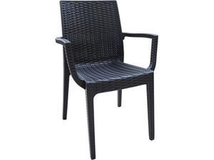Καρέκλα DAFNE πλαστική Aνθρακί σε Rattan Look