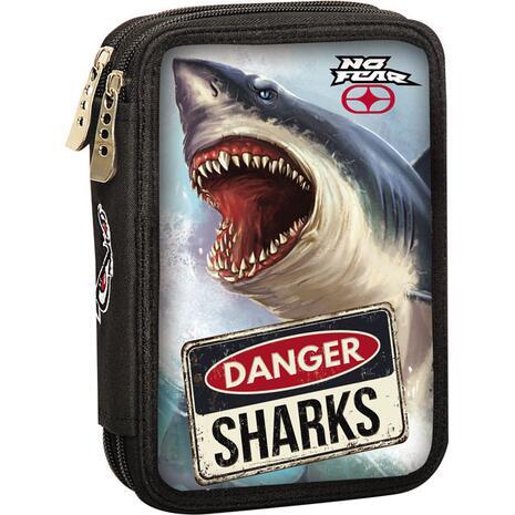 Κασετίνα γεμάτη διπλή No Fear Shark (347-40100)