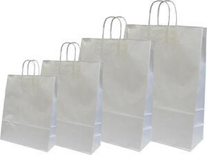 Χάρτινη σακούλα δώρου 31x22x10cm ασημί