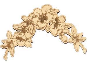 """Γωνιακή μπορντούρα ξύλινη """"Λουλούδια Αγιουζ"""" 75x75x3mm (24142)"""
