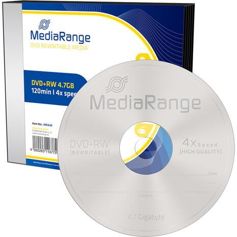 DVD+RW MediaRange 4.7GB 120' 4xSPEED Rewritable Slimcase