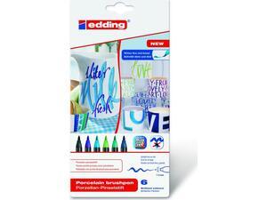 Μαρκαδόρoι EDDING πινέλο πορσελάνης 1-4mm Cool (σετ 6 τεμαχίων) (4200-6099S)