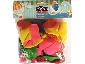 Μπαλόνια EXAS 24cm σε διάφορα χρώματα συσκευασία 50 τεμαχίων