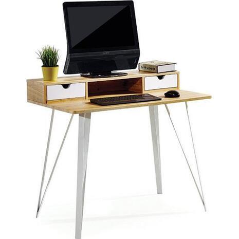 Γραφείο Home Office καφέ με 2 λευκά συρτάρια 87x100x60cm (Καφέ)