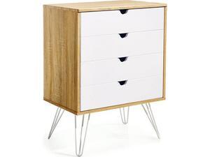 Συρταριέρα γραφείου καφέ με 4 λευκά συρτάρια 80x60x40cm