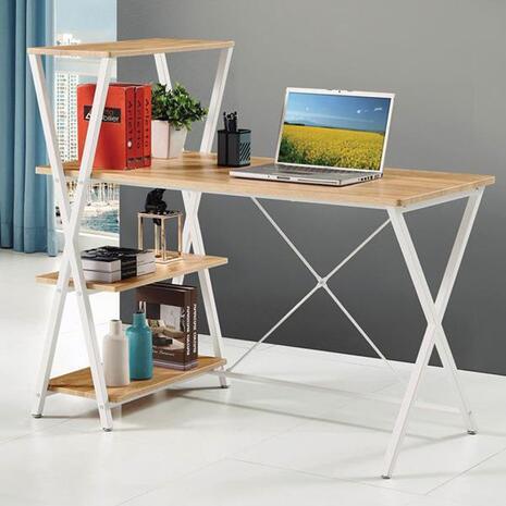 Γραφείο Home Office και ραφιέρα καφέ 110x120x65cm (Καφέ)