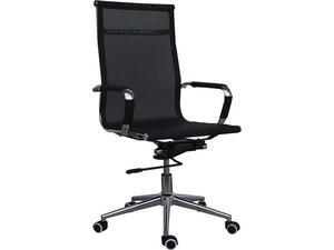 Πολυθρόνα γραφείου διευθυντή τροχήλατη μαύρη με ενιαία πλάτη και δίχτυ (Μαύρο)