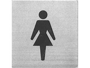 """Πινακίδα Σήμανσης Μεταλλική inox """"Γυναικών"""" 9x9 cm"""