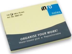 Αυτοκόλλητα χαρτάκια σημειώσεων Info 100x75mm (100 φύλλων) (Κίτρινο)