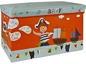 """Σκαμπό-κουτί αποθήκευσης υφασμάτινο """"πειρατές"""" 35x60x30cm"""