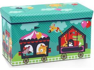 """Σκαμπό-κουτί αποθήκευσης υφασμάτινο """"τρένο με ζωάκια"""" 35x60x30cm"""