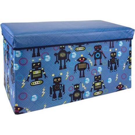 """Σκαμπό-κουτί αποθήκευσης υφασμάτινο """"ρομπότ"""" 35x60x30cm"""