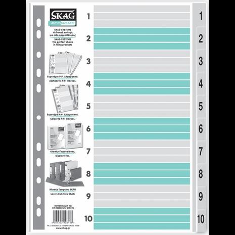 Διαχωριστικό Skag πλαστικό Α4 αριθμητικό (1-10) ECO