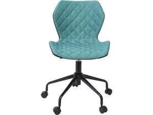 Καρέκλα Γραφείου DAVID PU Μαύρο/Υφασμα Petrol [E-00020985(EO207,3)]