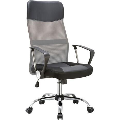 Πολυθρόνα γραφείου διευθυντή BF2400 Pvc & Mesh Γκρι/Μαύρο [Ε-00019542] ΕΟ502,4P