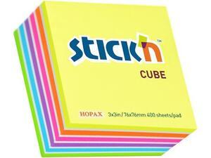 Αυτοκόλλητα χαρτάκια σημειώσεων STICK'N 76x76mm διάφορα χρώματα 400 φύλλα