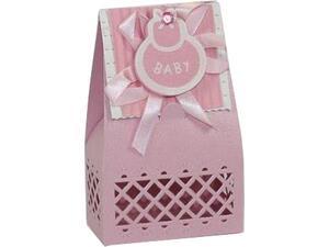 Μπομπονιέρα κουτάκι χάρτινο για βάφτιση ροζ 13x6.5εκ.