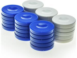 Πούλια πλαστικά μπλέ- λευκά  Φ36Χ6mm pp1blu - Manopoulos