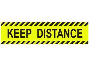 """Πινακίδα  """"KEEP DISTANCE"""" αυτοκόλλητο 8x32cm"""