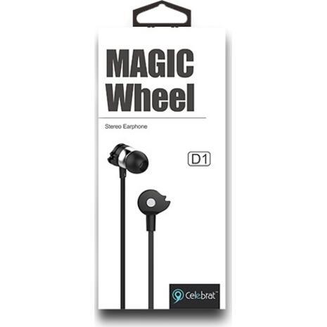 Ακουστικά με μικρόφωνο CELEBRAT D1, on/off, 10mm, 1.2m flat, μαύρα