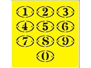 """Στένσιλ πλαστικό """"Αριθμοί"""" 16x16εκ."""