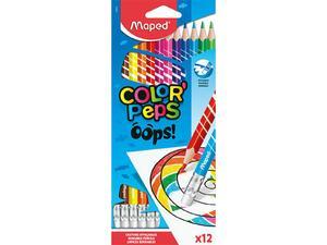Ξυλομπογιές με γόμα MAPED Color'Peps Oops πακέτο 12 τεμαχίων (832812)