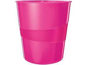 Καλάθι αχρήστων LEITZ 5278 WOW 15lt πλαστικό ροζ (Ροζ)