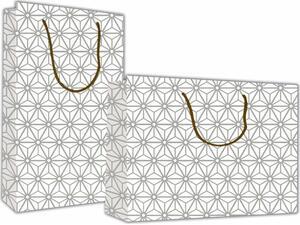 """Χάρτινη σακούλα δώρου 40x46x14cm """"ασημί μοτίβο"""" (27448-17)"""