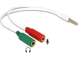 Aντάπτορας DELOCK  audio headset από 2x 3.5mm 3-pin (F) σε 3.5mm 4-pin (M), λευκός