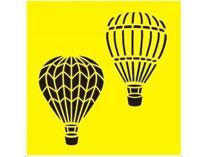 """Στένσιλ πλαστικό  """"Αερόστατα ITD"""" 16x16εκ."""