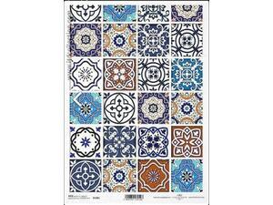 """Ριζόχαρτο για Decoupage """"Vintage-colourful tiles"""" 21x29εκ"""