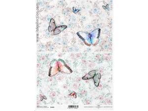 """Ριζόχαρτο για Decoupage  """"Πεταλούδες και Λουλούδια"""" 21Χ29εκ"""