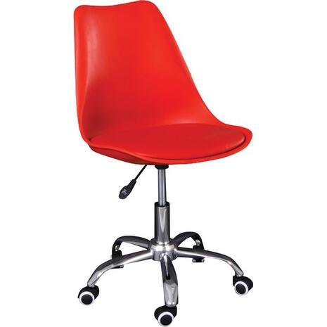 Καρέκλα Γραφείου, MARTIN ,  Χρώμιο - PP Κόκκινο / Μονταρισμένη Ταπετσαρία Pu  [Ε-00022178] ΕΟ201,5W