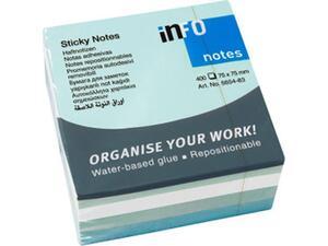 Αυτοκόλλητα χαρτάκια σημειώσεων INFO 75x75mm iceland χρώματα 400 φύλλα (5654-83)  (Μπλε)