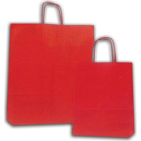 Χάρτινη σακούλα δώρου 31x22x10cm κόκκινη με στριφτό χερούλι